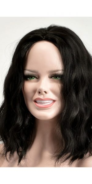 Shoulder length Black synthetic Wig