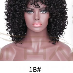 Black, synthetic Afro curly wigs