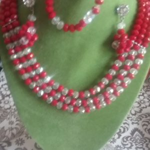 Red, 3-tier beaded Necklace and Earrings Set