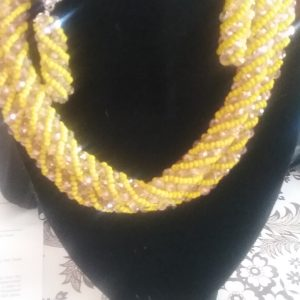 Real African beaded Necklace & Earrings set. Handmade