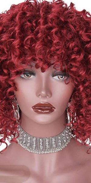 Synthetic Afro Curly Red Wig