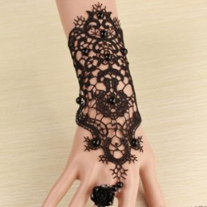 Long sexy Black Lace Bracelet and Ring Combo