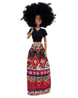 Beautiful AHOSI Afro Doll- red skirt