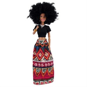 Beautiful Amaya Afro Doll- red skirt