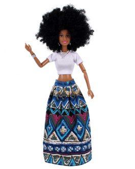 AHOSI Afro Doll. Blue Skirt