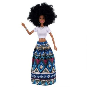 Amaya Afro Doll. Blue Skirt