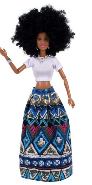 AHOSI Afro Doll. Blue Skirt