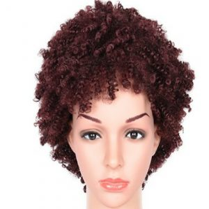 Stylish short Brownish-red curly Wig