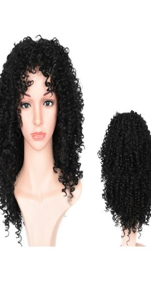 Long Curly Black Synthetic Hair
