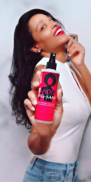 WIG-SANI: Innovative product. Relieves discomfort of Wig wear, itchy scalp. Sanitizes, Refreshes, cleans, detangles Wigs, Hair Extensions, Braids, Weaves. Made with natural ingredients