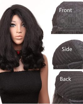 20inch Loose Wavy Synthetic Hair. Color 1b (Black) Pre Plucked With Baby Hair. Synthetic Wig. Fluffy &Heat Resistant